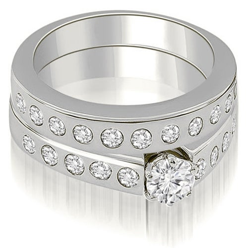 1.55 cttw. 14K White Gold Round Cut Diamond Bridal Set