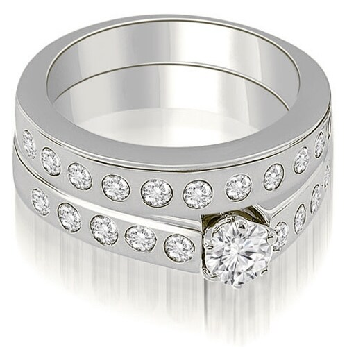 1.80 cttw. 14K White Gold Round Cut Diamond Bridal Set