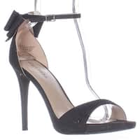 ZIGI Remi Ankle Strap Bow Heel Dress Sandals, Black Mesh
