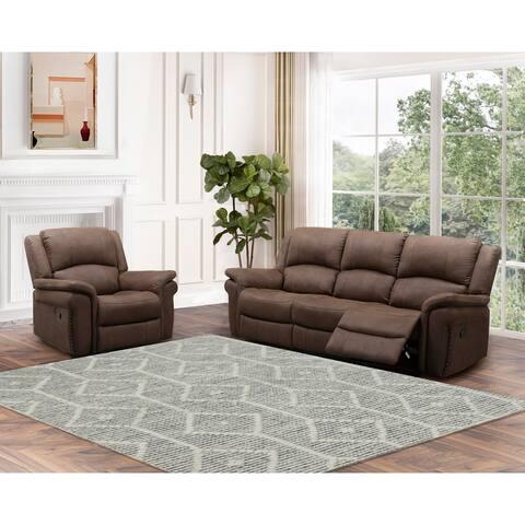 Abbyson Thompson Fabric Reclining Sofa and Manual Recliner Set