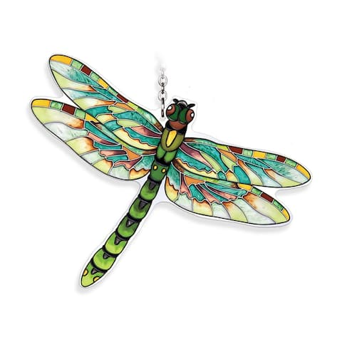 """Green Flame Skimmer Dragonfly Handcrafted Glass Wall Art Decor 6.5"""" x 5"""""""