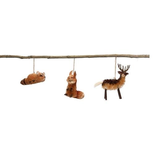 """Set of 6 Brown Sisal Rustic Raccoon, Fox, and Deer Christmas Ornaments 4.5"""""""