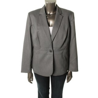 Jones New York Womens Plus Emma Pindot Long Sleeves One-Button Blazer - 24W