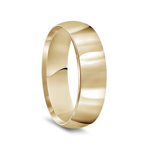 14k Yellow Gold Polished Super Domed Womens Wedding Band - 6mm