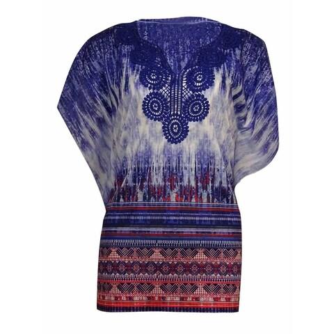 JM Collection Women's Crochet-Trim Fluttered Print Top - deep iris