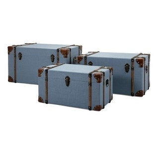 Set of 3 Blue Denim Storage Trunks 29.75