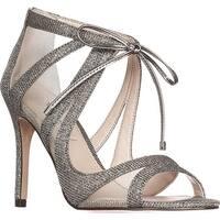 Nina Cherie Strappy Mesh Tie Peep Toe Dress Sandals, Steel Luna