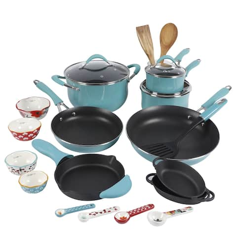 The 24-Piece Cookware Combo Set, Turquoise - 21.85 x 13.19 x 12.80 Inches