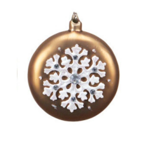 """4.5"""" Mocha Brown with White Iridescent Snowflake Glass Christmas Disk Ornament"""