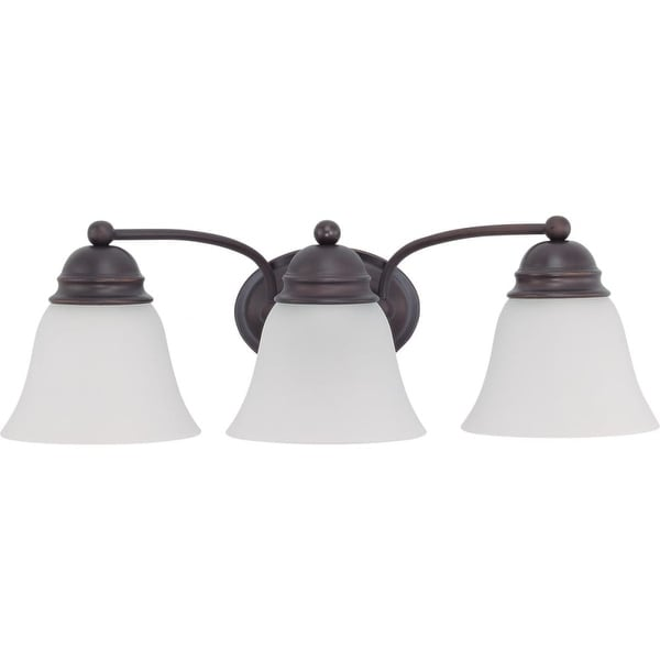 """Nuvo Lighting 60/3167 Empire 3 Light 20.5"""" Wide Vanity Light with Frosted White Glass Shades - Mahogany Bronze"""