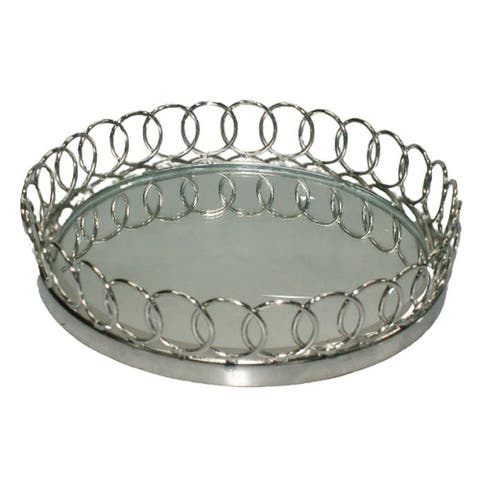 Jiallo Gala Gallery 13.75-inch Round Polished Metal Serving Tray