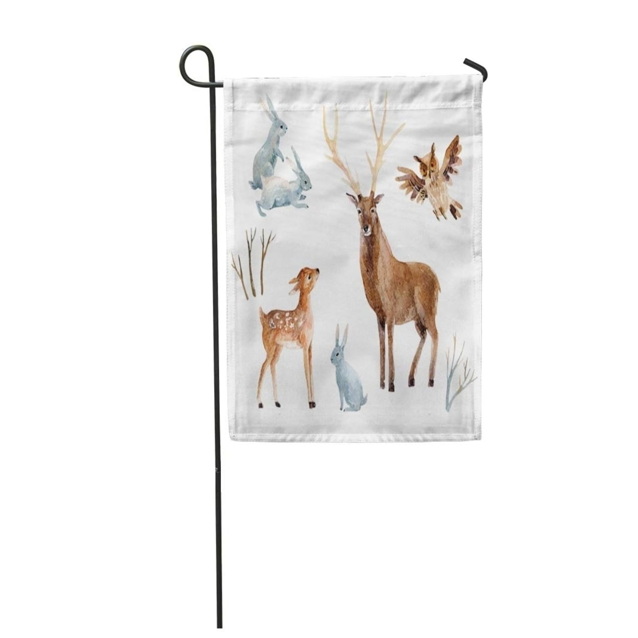 shop watercolor deer fawn rabbits birds wild forest hand winter garden flag decorative flag house banner 12x18 inch on sale overstock 31376955 overstock com