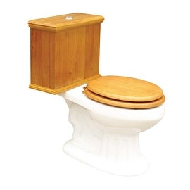Elongated Toilet with Light Oak Tank and White Bowl