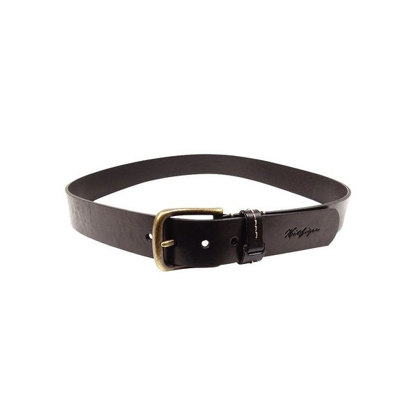 Tommy Hilfiger Men's Stitched Antique Buckle Leather Belt - Black - 42