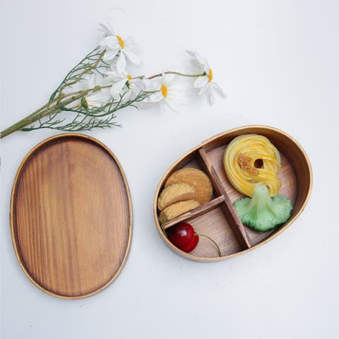 Lunch Boxes Oval Wood Lunch Box Sushi Food Container with Straps