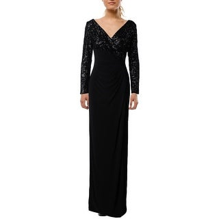 Lauren Ralph Lauren Womens Lylina Evening Dress Sequined Ruched