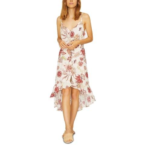 Sanctuary Women's Dress White Size Medium M Hi-Low Floral Shift