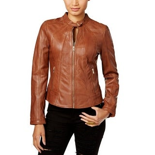 GUESS Leather Moto Band Collar Jacket Cognac - l