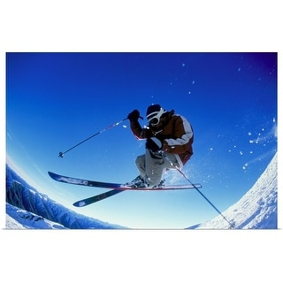 """Downhill skier in mid-air"" Poster Print"