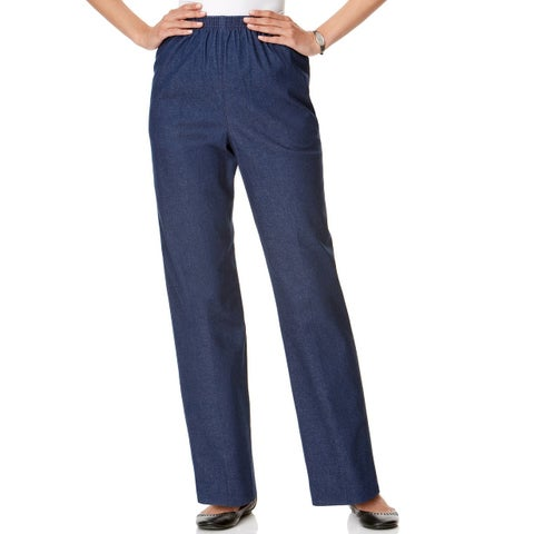 Alfred Dunner Blue Womens Size 16 Straight Pull On Denim Pants