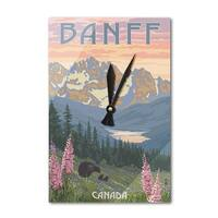 Banff, Canada Bear and Spring Flowers - LP Artwork (Acrylic Wall Clock) - acrylic wall clock