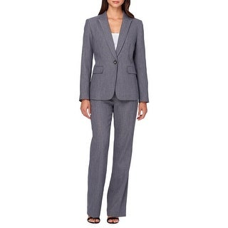Tahari ASL Herringbone Single Button Long Sleeve Jacket Pant Suit - 4