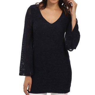 Chaser Blue Women's Size XS Tunic Lace Bell-Sleeve Blouse