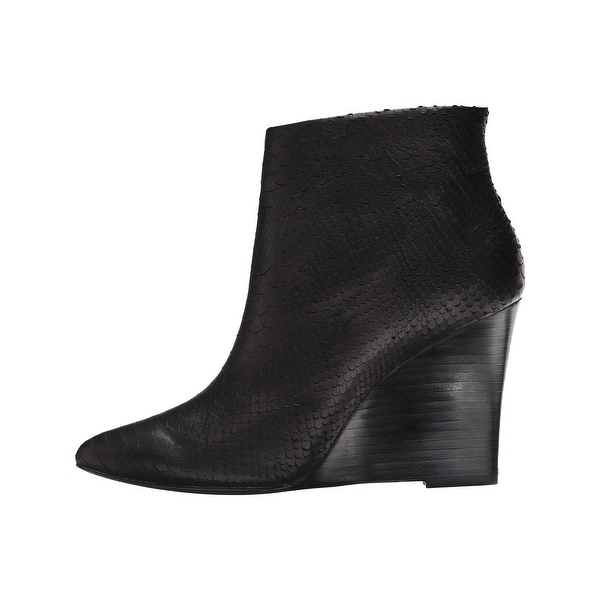 Joie NEW Black Womens Shoes Size 9M Jalena Snake Embossed Wedge Boot