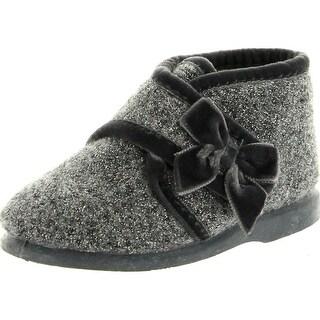 Cienta Girls Silver Plata Cute European Warm Slippers With Bow