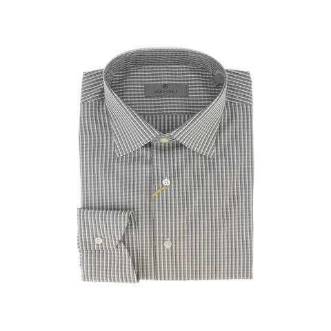 Canali Grey Check Formal Shirts