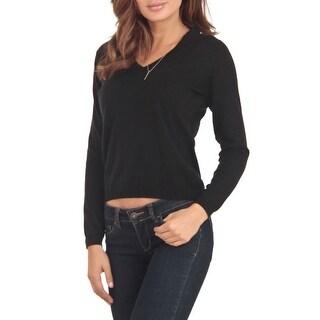 Cashmere Company COLLO V NR Black Cashmere Blend Womens Sweater