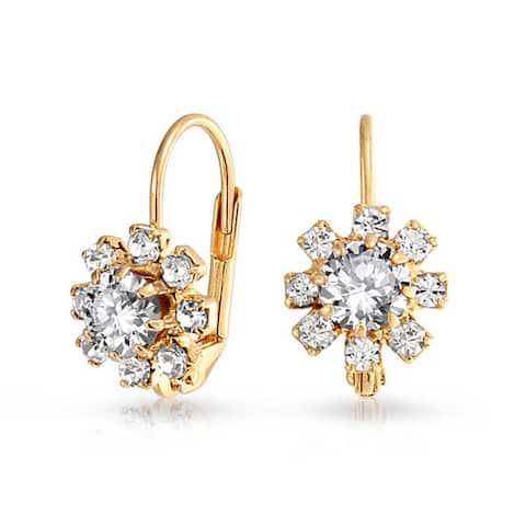 Clear Crystal Flower 18K Gold Plated Brass Leverback Drop Earrings For Women