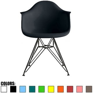 2xhome Designer Plastic Armchair Black Eiffel Dark Chrome Wire Legs For Dining Chair Molded With Arms Kitchen Desk