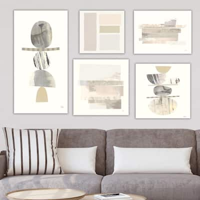 Designart 'Balance Collection' Abstract Wall Art set of 5 pieces - Grey