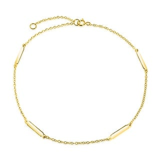Bling Jewelry Gold Plated 925 Silver Bars Adjustable Ankle Bracelet 9in