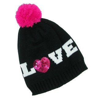 CTM® Girls' Sequin Knit Hat with Pom