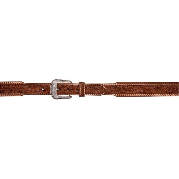 3D Belt Mens Western Tooled Leather Stitching Tapers Natural