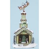 "15"" Musical LED Lighted Church with Rotating Santa and Sleigh Christmas Table Top Decoration - WHITE"