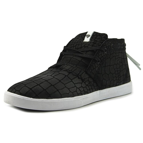 Diamond Supply Co Jasper Men Round Toe Leather Black Sneakers