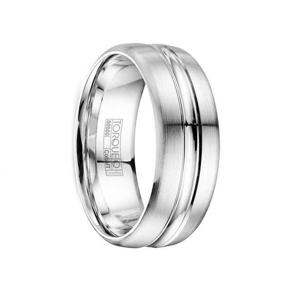 HAGGAR Brushed & Polished Flat Cobalt Wedding Band with Dual Grooves by Crown Ring - 8mm