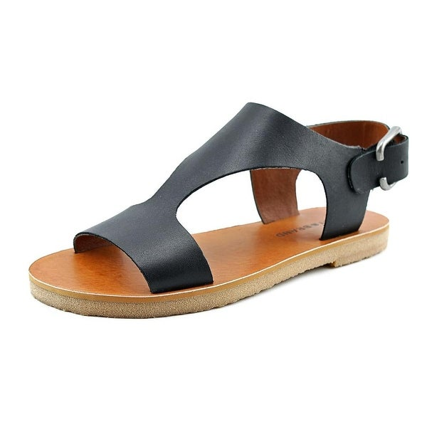 Lucky Brand Devyn Women Open-Toe Leather Black Slingback Sandal