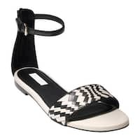 Cole Haan Women's Genevieve Weave Ankle Strap Sandal Black/White Leather/Genevieve Weave