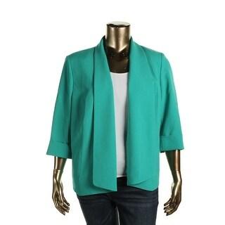 Kasper Womens Plus Open-Front Blazer Cuffed Sleeve Non-Vented