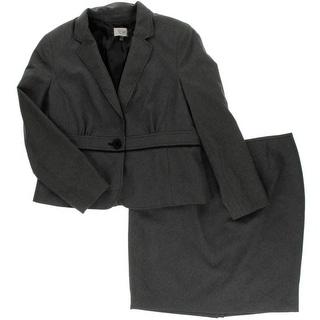 Le Suit Womens Petites Quebec Contrast Trim Notch Collar Skirt Suit
