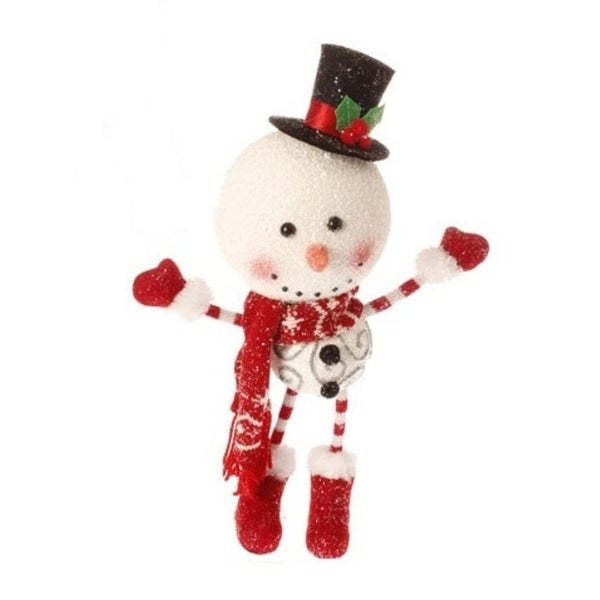 """14.5"""" Alpine Chic Snowman with Top Hat Christmas Ornament - WHITE"""