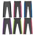 Women 6 Pack Space Dye Neon Stipes Athletic Sports Full-Length Leggings - Thumbnail 0