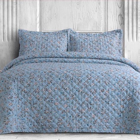 Azores Home Organic Cotton 300 Thread Count Printed Oversized Quilt Set
