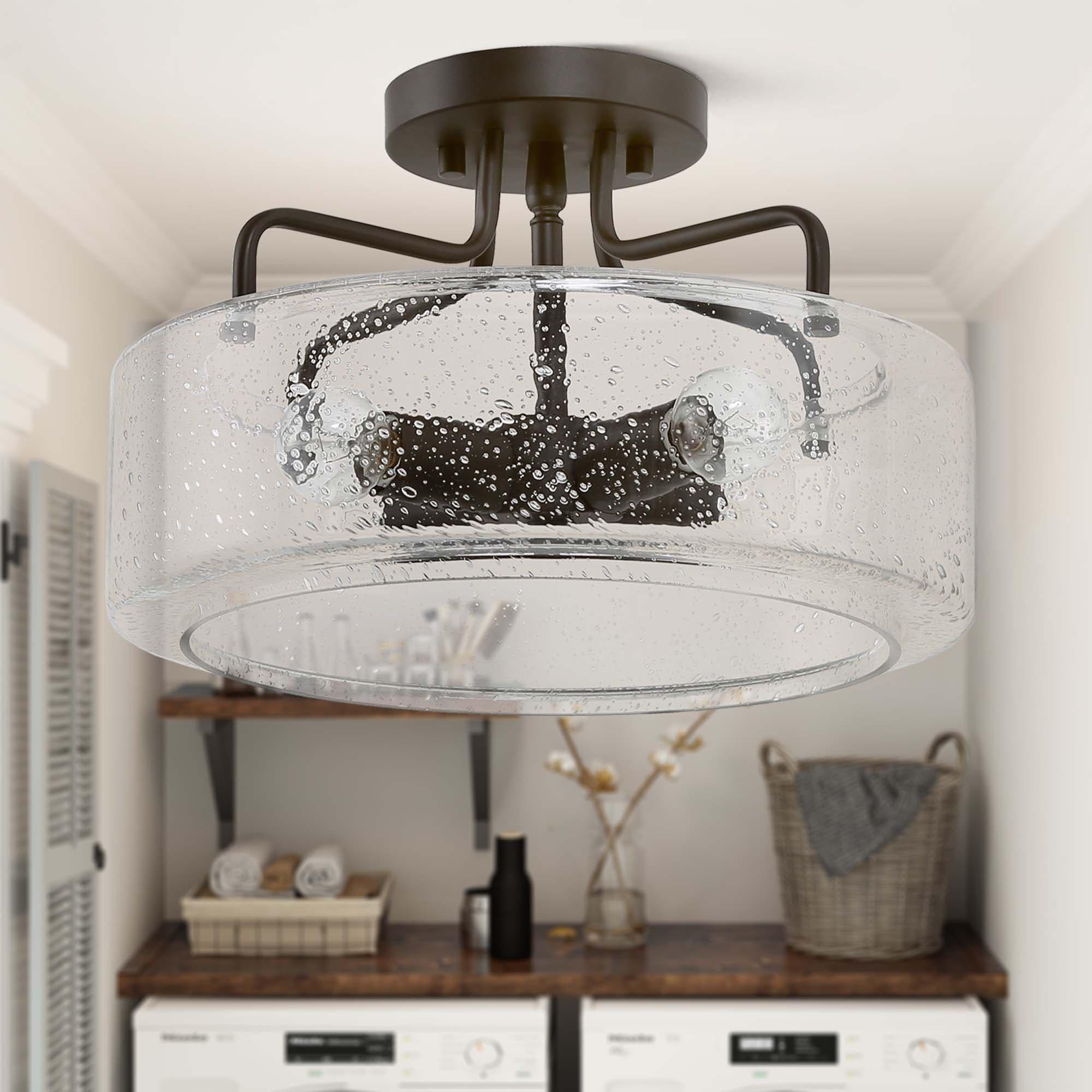 Modern Farmhouse 4 Lights Full Flush Mount Ceiling Lighting Fixture For Kitchen