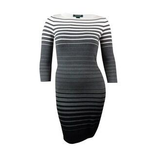 Lauren Ralph Lauren Women's Ombre Striped Sheath Sweater Dress (PL, Grey Multi) - Grey Multi - pl