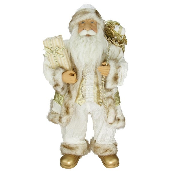 """24"""" Glorious Winter White and Ivory Standing Santa Claus Christmas Figure with Gift Bag - GOLD"""